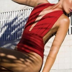 Women's Red One-pieces,Solid Halter
