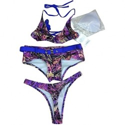 Women Halter Bikinis Australia Multi Pieces , Floral Push Up Wireless Padded Bras Nylon Spandex Purple Green Yellow Brown