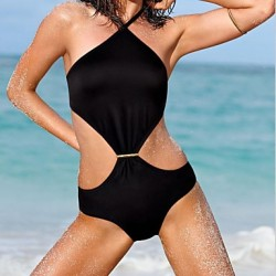 Women's One-pieces , Solid Polyester/Spandex Black