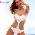 Women Halter One Pieces , Solid Push Up Padless Bra Polyester Spandex White