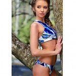 Women's Halter Tankinis , Floral/Bandage Push-up/Wireless Modal Blue