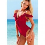 Anny Women's Push-up/Wireless High Rise/Ruffle/Solid Straped One-pieces (Polyester)