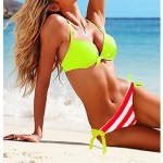 Anny Women's Push-up/Wireless Color Block Bandeau Bikinis Australia (Polyester)