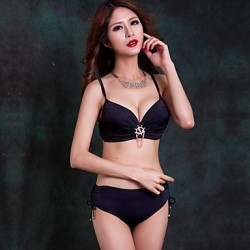 Women Halter Bikinis Australia , Solid Push Up Padded Bras Underwire Bra Nylon Spandex Pink Green Black