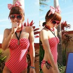 Women Halter One Pieces , Dot Push Up Nylon Polyester Red