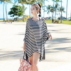 Women 'S Crew Neck  Chiffon Striped Oversized Batwing Sleeve Fashion Bikini Australia Cover Up