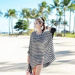 Women Crew Neck Chiffon Striped Oversized Batwing Sleeve Fashion Bikini Australia Cover Up