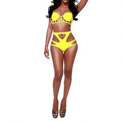 Women's Cutout Push Up V Neck Swimwear
