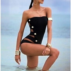 Women's Sexy Black One-piece Swimsuit Australia Button Design
