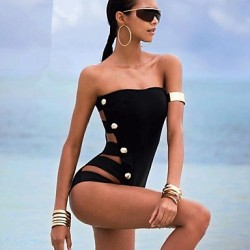 Women Halter One Pieces , Solid Push Up Nylon Polyester Black