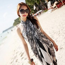 Women's Fashion Black Print Chiffon Scarf Sarong Swimwear Australia Swimsuit Australia Bikini Australia Beach Cover-up