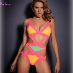 Women Halter One Pieces , Color Block Bandage Push Up Wireless Padded Bras Polyester Spandex White Yellow Red