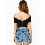 2019 New Fashion Style Summer Crop Top Sexy Slash Neck Off-Shoulder Short T Shirt with Zipper Back