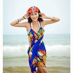 Women Straped Cover Ups , Floral Seamless Polyester Spandex White Blue Green Yellow Orange Red