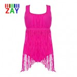 ZAY Women Push Up Tassels Solid Halter One Pieces