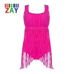 ZAY Women's Push-up Tassels Solid Halter One-pieces