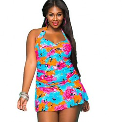Women Halter One Pieces , Floral Bandage Wireless Polyester Multi Color