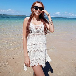 Women's Fashion Sexy Beige Hollow-out Knitwear Beach Veat Dress