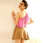 Women Blue Pink T Shirt , Vintage Sexy Casual Cute Party Work Short Sleeve