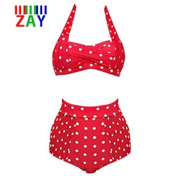ZAY Women's New Fashion Vintage Halter High Waist Dot Bikinis Australia