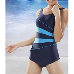 Women Straped One Pieces , Color Block Nylon Spandex Black Blue
