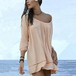 Women's White/Beige Cover-Ups,Solid
