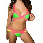 Women Push Up Color Block Bandage Straped Bikinis Australia