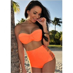 Women Push Up Wireless High Rise Solid Bandeau Bikinis Australia Polyester