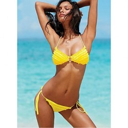 Women's Push-up/Wireless Tassels/Ruffle/Solid Bandeau Bikinis Australia (Polyester)