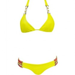 Women Halter Bandeau Bikinis Australia , Solid Push Up Nylon Polyester Yellow