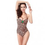 Lepoard Leopard 2019 Vintage Buckled Center Removable Neck Halter Push Up One Piece Bathing Suit For Women