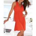 Women's Fashion Sexy Solid Deep V Neck Swimwear Australia Swimsuit Australia Bikini Australia Beach wear Holiday dress