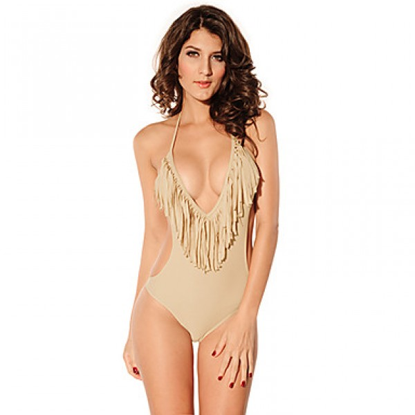 Women's Halter One-pieces , Solid/Tassels Nylon/Spandex Gray
