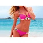 Women's Bohemian Push Up Nylon and Spandex Pure Color Brazilian Sexy Bikini
