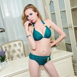 Women Halter Bikinis Australia , Solid Push Up Nylon Polyester Spandex Green