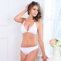 Women's Nylon/Polyester Sexy Push-up/Wireless Halter Bikini