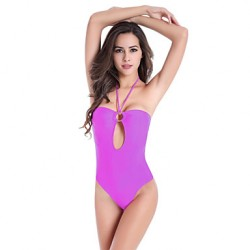 SWIMMART 2019 Removable Padding Neck Halter Ringed Center Hollow High Cut Monokini SwimsuitM. L.XL.2XL.3XL