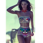 Women's Brazilian Fashion Sheer Print Tube Bikini Australia Swimsuit