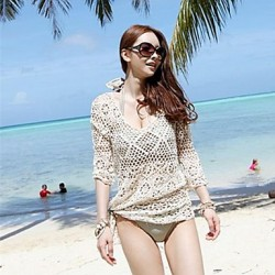 Women's Fashion Round Collar Beige Hollow Crochet Half-sleeve Swimwear Australia Swimsuit Australia Bikini Australia Beach Cover-up