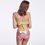 The Fille Women Cute Fluorescent Green Bowknot Wireless Padded Bras Retro Floral Bandeau Bikini Australia Tops