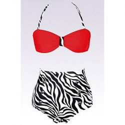Women's Halter Bikinis Australia , High Rise/Animal Water Bras & Gel Bras Nylon/Spandex Red