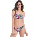 The Biggest Size 5XL Removable Padding Fully Lined Sexy Adjustable One Shouler Tube Bikini Australia For Women 3 Prints