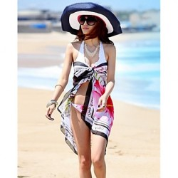 Women's Fashion Multi Print Chiffon Scarf Sarong Bikini Australia Swimwear Australia Swimsuit Australia Beach Cover-up