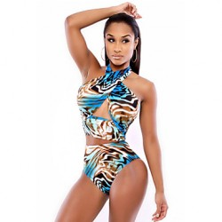 Women's Colorful Ocean View Wrap Halter Bikini Australia Swimsuit