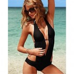 Anny Women Wireless Solid Halter One Pieces Polyester