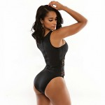 Womens Halter One Pieces , Solid Wireless Polyester Black