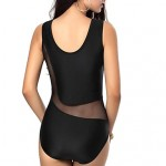 Women Halter One Pieces , Mesh Padded Bras Nylon Polyester Spandex Black