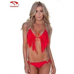 Women's Halter Bikinis Australia/Tankinis/Multi-pieces/Swimming Accessories/Cover-Ups , Solid/Tassels Nylon Multi-color