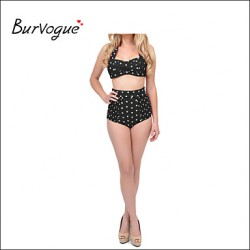 Burvogue Womens High Waist Swimwear Australia Retro Polka Dot Bikini Australia Set Padded Push Up Swimsuit
