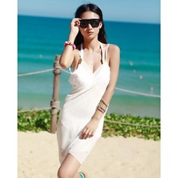 Women's Fashion Sexy Solid Chiffon Deep-v Beachdress Swimwear Australia Swimsuit Australia Bikini Australia Cover-up